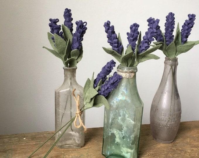 Felt lavender stems and bundles