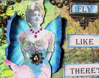 Mixed Media Canvas with Winged Victorian Lady, Mixed Media Collage Art, 3-D Butterfly Wings, Beautiful Green Metallic Inks