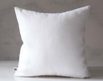 White throw pillows - white linen pillow cover - white throw pillow for home decor - classic pillowcase for decorative pillows - 0419