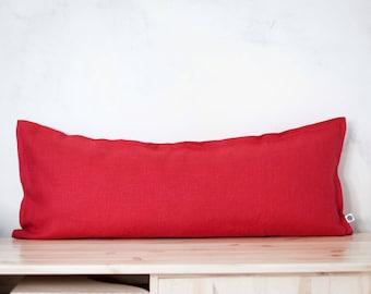 14x36 pillow cover, Red long lumbar pillow - lumbar cushion case - lumbar pillow cover - oversized lumbar, throw pillow 0078