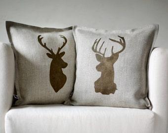 Deer head pillows set of 2 Reindeer antique bronze hand  print on natural linen cushion covers  0124