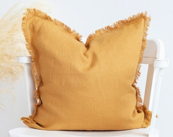 Mustard PILLOW COVER, linen throw pillow case, pillow for living room decor, custom size pillow, Fringed raw edge pillow