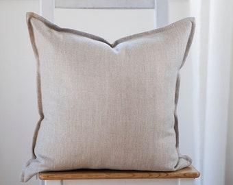 Natural linen pillowcase, neutral pillow cover, Lithuanian linen throw pillow cover - cushion case in custom size