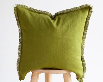 Green THROW PILLOW CASE, fringed pillow cover, decorative pillow cover, custom size pillow cover, fringe pillow covers