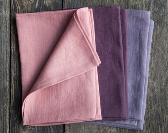 Cloth linen napkins set of 3, pink plum and ash purple colors in set