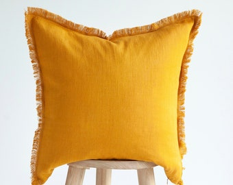Yellow THROW PILLOW CASE, fringed pillow cover, decorative pillow cover, custom size pillow cover, fringe pillow covers