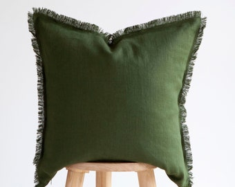 Green PILLOW CASE, fringed pillow cover, green raw edge cushion cover, custom size pillow cover, fringe pillow covers