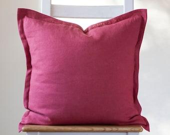 Dark Pink pillow cover, linen throw pillow cover for bedding decor or decorative pillows collection