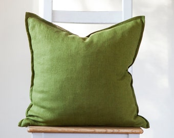 Green pillow cover, pillow cover 16x16 inch size with small edge sewn.
