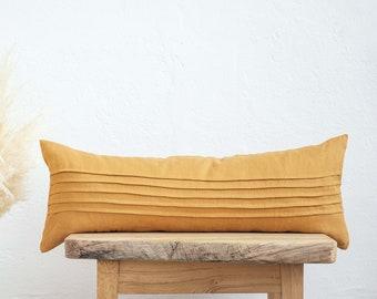 Lumbar pillow cover 14x36, ticking sewn lines pillow, linen pillow cover, mustard yellow pillow cover