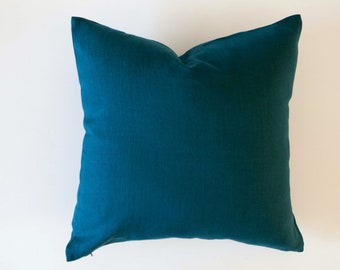 Teal blue pillow cover, blue throw pillow, teal euro sham size pillow, Classic style blue cushion case in custom size