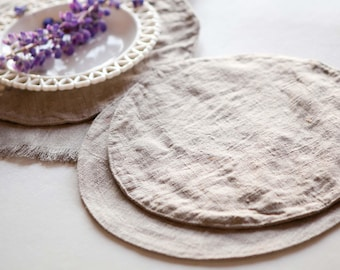 Large Round placemats set Burlap placemats Round table place mats Rustic table serving 16 inch diameter