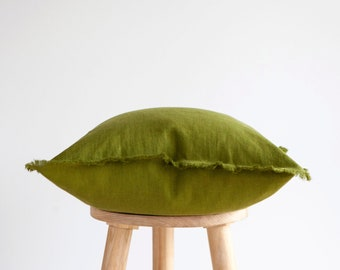 Green THROW PILLOW CASE, fringed pillow cover, 20x20 inch size