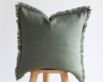 Green fringe PILLOW COVER, linen pillowcase, green raw edge cushion cover, custom size pillow cover, fringe pillow covers