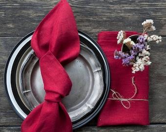 Red natural Linen Napkins Stonewashed linen napkins bulk Cloth Napkins
