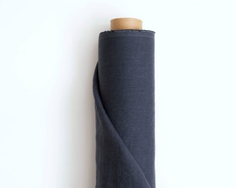 Dark Grey linen fabric by the yard, Pure 100% linen fabric,  205gsm (6.05 oz/yd2), Solid colour. Grey linen for clothes and home textile