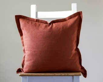 Burnt orange linen pillowcase, oxford style burnt orange cushion for home decor
