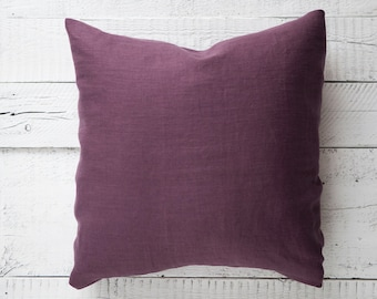 Purple throw pillow cover from natural linen, throw pillow