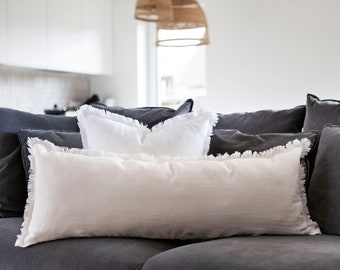 Off white long linen lumbar pillow COVER, Raw edge lumbar cover, custom size long lumbar, lumbar cushion cover available in 14x40 size