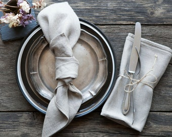 Linen cloth napkins in white and natural set of 8, cloth softened linen napkins - 18x18