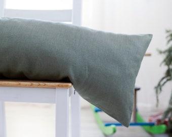 Green lumbar pillow cover - Soft green body pillow case - Long lumbar