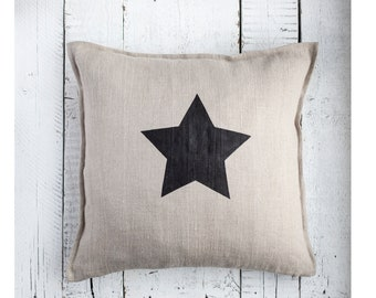 Star pillow COVER, handmade star print pillow cover for home decor, pillow 18x18 or 20x20