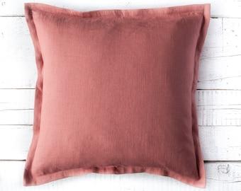 Mauve PILLOW COVER, pink throw pillow cover, Linen cushion case, pink decorative pillow cover, custom size pillow, pillow with zipper