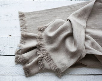 Linen throw, Natural linen blanket, rough linen homemade blanket or bed scarf with raw edge