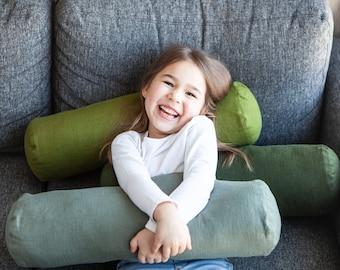 Green Bolster pillow COVER - Bolster cushion cover - bolster pillow case, green bolster, custom size bolster