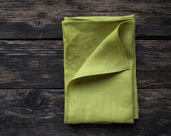 Chartreuse linen napkins, Softened linen napkins, cloth napkins, bulk or in set,  25 colorus available, classic size 18x18 inch