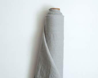 Light grey linen fabric by the yard, Pure 100% linen fabric,  205gsm (6.05 oz/yd2), Solid colour. Linen for napkin set