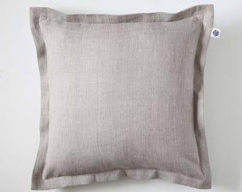 Linen pillow cover - european sham from natural linen - linen comforter - linen pillowcase - linen pillow sham, custom color euro sham