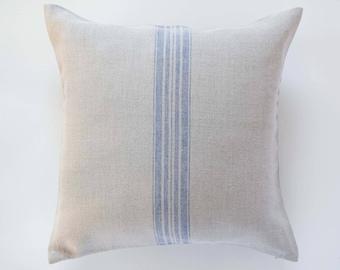 Grain sack pillow - linen pillow cover with blue striping - cushion case - decorative pillow - french farmhouse decor accent - 0385