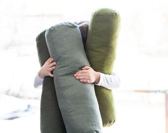 Green bolster cushion cover - Long bolster linen pillow cover - bolster pillow case, green bolster, custom size bolster case