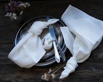 White stonewashed linen napkins set of 4