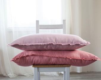 Pink linen pillow cover, long lumbar pillow cover, raw edge pillowcase, linen cushion case, custom size pillows