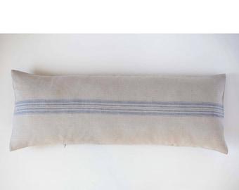 Long linen lumbar pillow cover, oversized lumbar pillow cover, grain sack pillow with blue stripes, bench pillow, linen lumbar pillow