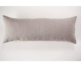 Natural linen lumbar pillow cover, custom size lumbar, Large linen lumbar 14x36 or 14x26