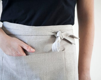 Waist apron from natural linen, with front pockets, barista apron in custom color