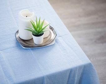 Blue linen tablecloth Natural linen tablecloth custom length