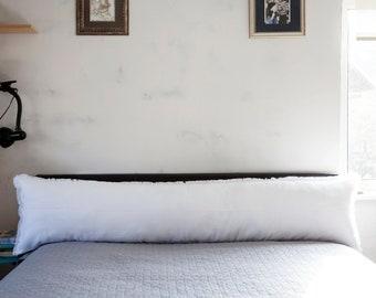 White Oversized lumbar pillow, fringe lumbar pillow, raw edge throw pillow cover