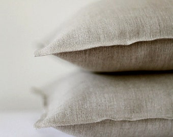 Throw pillow covers set of 2, natural linen decorative pillow covers