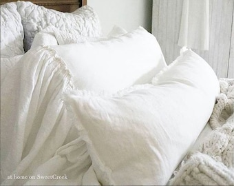 Linen lumbar pillow COVER with fringes Long lumbar pillow White belgian linen pillow Lumbar cushion Raw edge pillow, rough linen pillow