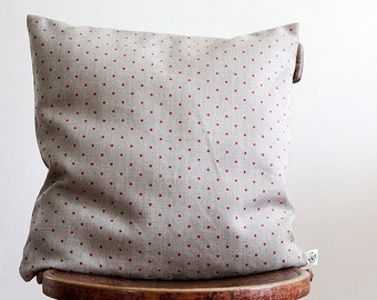 Linen throw pillow with red polka dot pattern, dotted pillow cover  0103