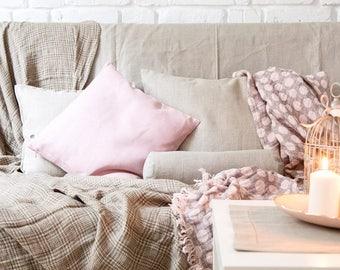 Blush pink throw pillow, blush decorative pillow cover - pink accent pillow - housewarming gift idea - linen pillow decorative pillow   0088