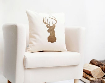 Farmhouse pillow - deer head throw pillow on off white linen, cushion 0128
