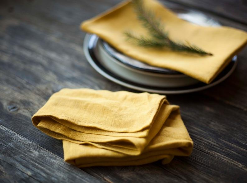 Stonewashed yellow linen napkins Softened yellow cloth image 0