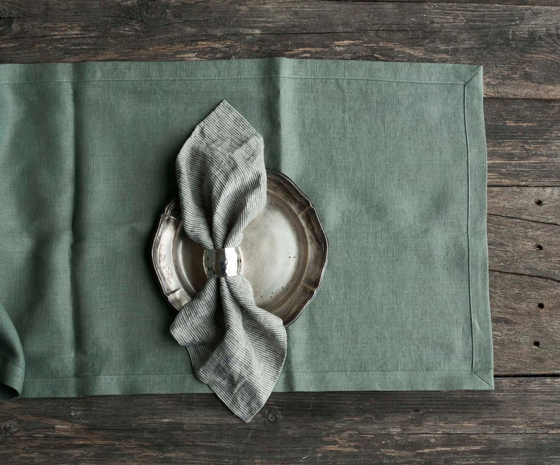 Green linen table runer with mitered corners in custom size Seafoam green 2699