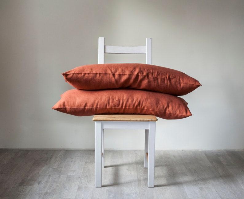 Orange long lumbar pillow covers set of 2 burnt orange lumbar image 0