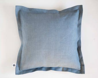 Dusty blue pillow pillow cover, natural linen pillowcase